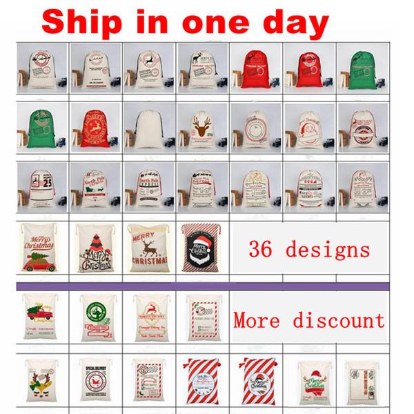 best selling Santa Sacks Monogrammable Christmas Gift Bags Santa Sack Drawstring Bag Santa Claus Deer 33 Designs Bulk in Stock YW244