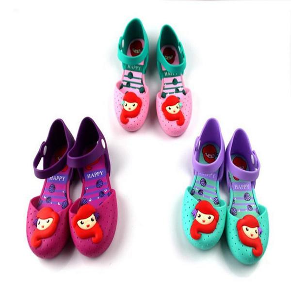 Kinder Sommer schuhe Meerjungfrau PVC Sandalen Marke Mode Kleine Meerjungfrau Prinzessin Sandalen Kid Designer Einzelne Sandalen Schuhe Mädchen Schuhe Regnen