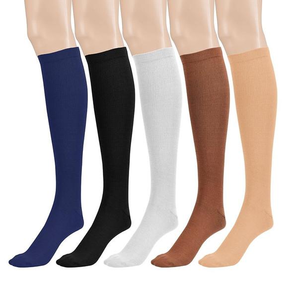 O esporte longo unisex da compressão golpeia peúgas da circulação sanguínea de 20-30 mmhg que correm as peúgas altas do emagrecimento da cor do joelho 6