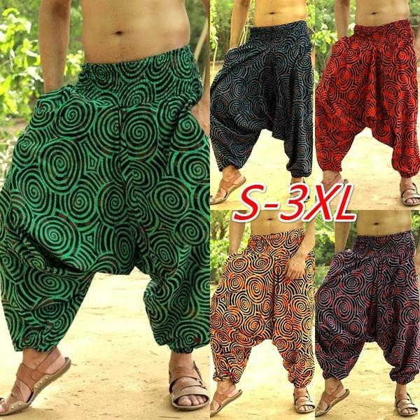Men Wide Legs Ethnic Style Pants Casual Loose Joggers Trousers 2019 Fashion Mens Print Baggy Hip Hop Pantalon Hombre Trousers