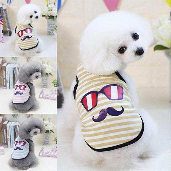 Gestreiftes Bart Welpenhemd Klassische Haustier Hund Sommer Weste Hunde Sonnenbrillen T Shirts Kleidung 3 Designs