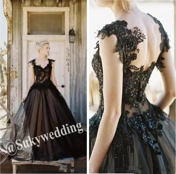 Gothic Black Wedding Dresses Long A Line Tulle Lace Appliques Beaded Sexy Backless Country Bridal Gowns Cheap Plus Size Wedding Gowns