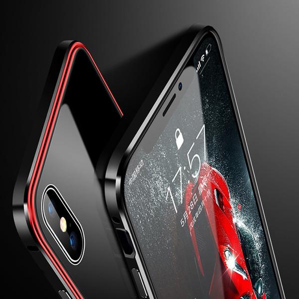 Luxury Metal Case for iPhone XR XS Max Case Aluminium Metal Bumper Tempered Glass Phone Cases For iPhone X 7 8 Plus Cover Coque