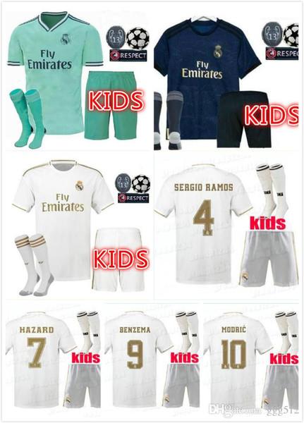 GEFAHR 2019 2020 Real Madrid Fußball Trikot KIDS Kits Socken 19/20 Fußball Trikot Asensio SERGIO MODRIC RAMOS BALE ISCO Kinder Fußball Sets