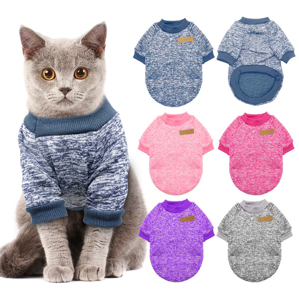 Warm Dog Cat Clothing Autumn/Winter Pet Clothes Sweater For Small Dogs Cats Pug Yorkies Kitten Outfit Cat Coat Costume