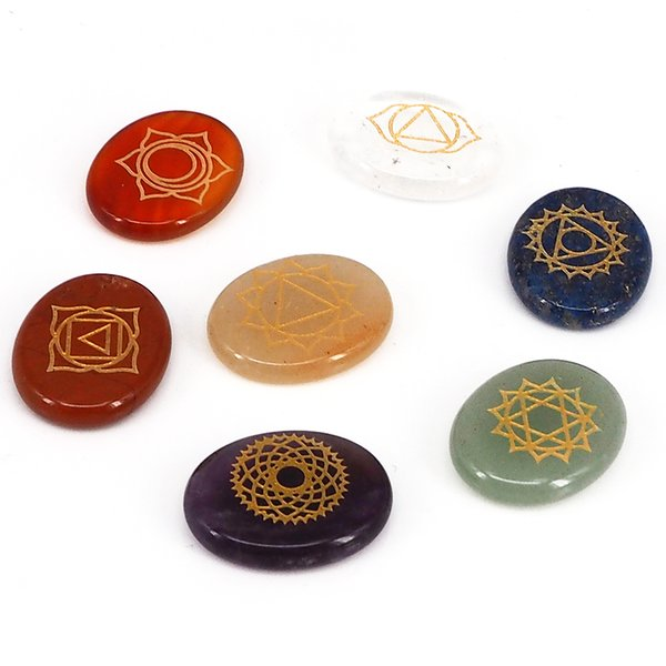 Health Care Exquisite Holistic Symbol Engraved Natural Seven Chakra Crystal Stones Healing Energy Balance
