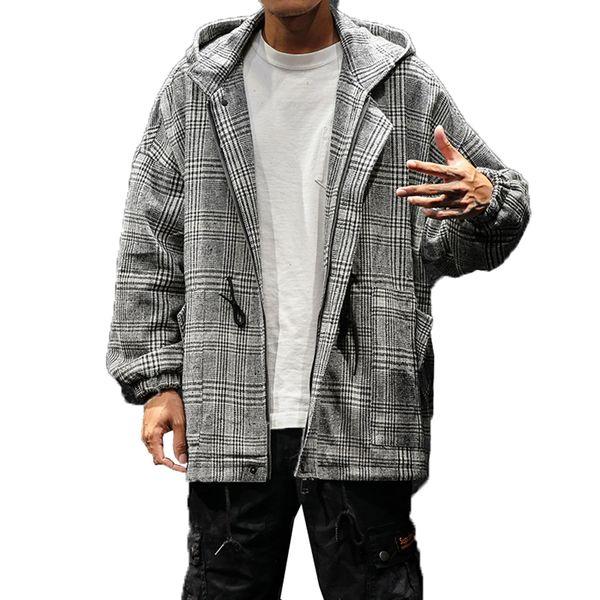 Vintage Hooded Trench Coat Men Plaid Streetwear Korean Fashion Clothing Male Jackets Coats Harajuku Ulzzang Overcoat Man Long