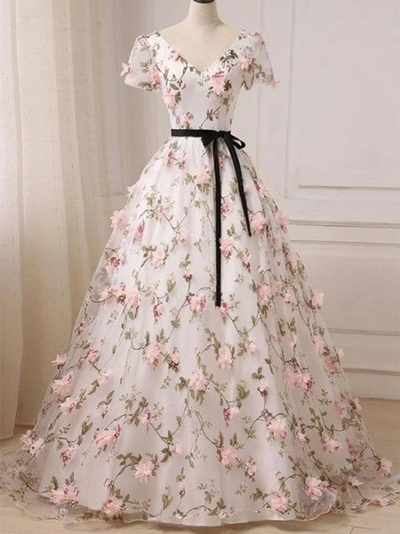 2019 Floral Printed Prom Dresses V Neck Short Sleeves Long Evening Dress Lace-up Back Real Photos Beach Summer Gowns With Black Belt