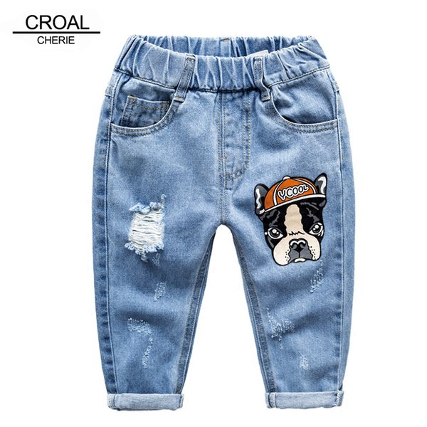 Croal Cherie 90-120cm Kawaii Dog Children Ripped Jeans Kids Stonewashed Denim Pants For Teenagers Boys Toddler Jeans Y19051504