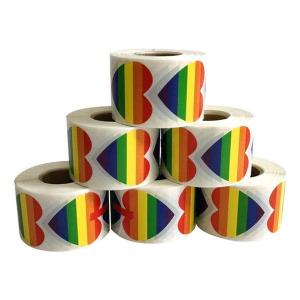 Gay Pride Stickers Rainbow Color Stickers To Show The Attitude Towards The LGBT Face Sticker Rainbow Flag Heart Sticker KKA7160