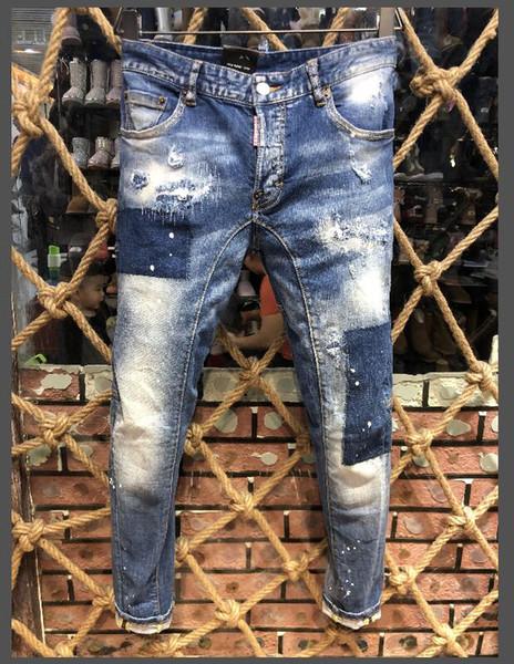 2019 популярные моды для мужчин джинсовые байкер джинсовые брюки для вышивания отверстия повседневные джинсы пуговицы брюки D2 длинные брюки