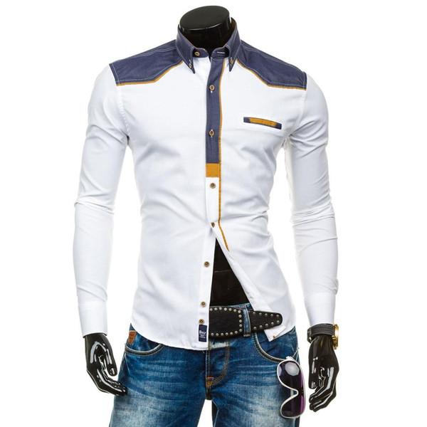 Zogaa 2019 Moda Erkekler Katı Gömlek Uzun Kollu Turn-down Yaka Erkekler Elbise Gömlek Gündelik Iş Slim Fit Erkek Giyim Camisa