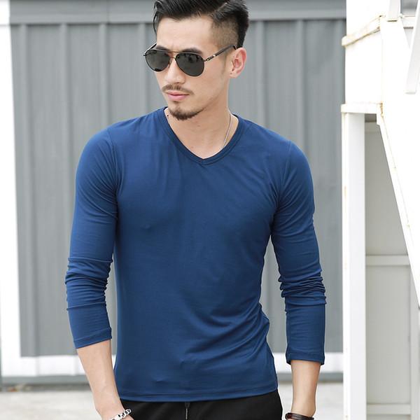 Nueva llegada de la tapa de la alta calidad de manga larga otoño al por mayor camiseta para hombre de la moda de la venta caliente para hombre Casual color puro T-shirts.B101841Y