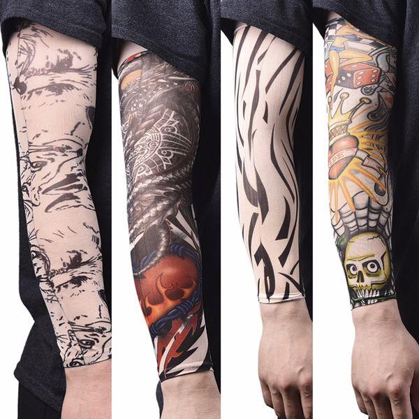 Sport Skins Sun Protective Men Seamless Fake Tattoo Arm Stockings Elastic Tattoo Sleeves Nylon Temporary Tattoo Sleeves