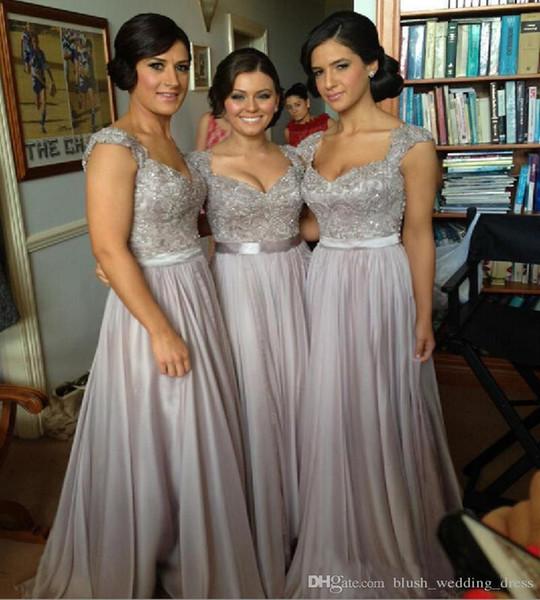 Nueva Sexy Hombros formal Una línea de vestidos de noche de gasa gris mamá Flor volver a pegar dama de longitud de los vestidos del baile