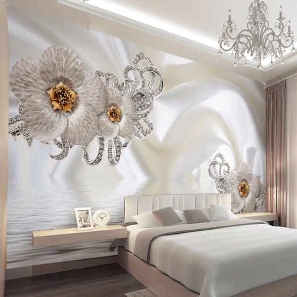 Пользовательские Mural обои Современные шелка Алмазная большие стены Картина стены искусства Mural для гостиной Wall Papers Home Decor 3D