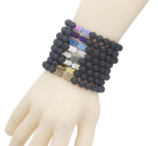 Volcanic Lava Stone Essential Oil Diffuser Bracelets Bangle Healing Balance Yoga Magnet Arrow Beads Bracelet Men Women 50pcs K2709