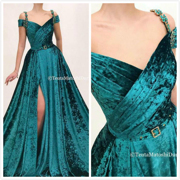 Dark Green Sexy 2019 African Evening Dresses Spaghetti Crystals Velvet Prom Dresses Cheap Formal Party Bridesmaid Pageant Gowns