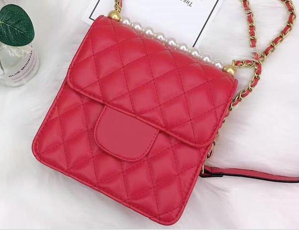 Hot New Style Designer Pearl Decoration Women Handbags Solid Plain