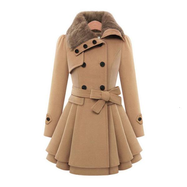 Laine manteau double boutonnage long manteau femme épaissir automne hiver mince ceinture manteaux trench plissés dame col de fourrure peacoat SH190911
