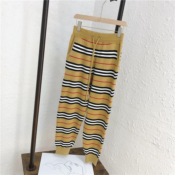 haut de gamme des femmes de mode de marque de luxe hiver de l'automne polyvalent rayure cravate avec cordon de serrage couleur hit tricot sarouel occasionnels