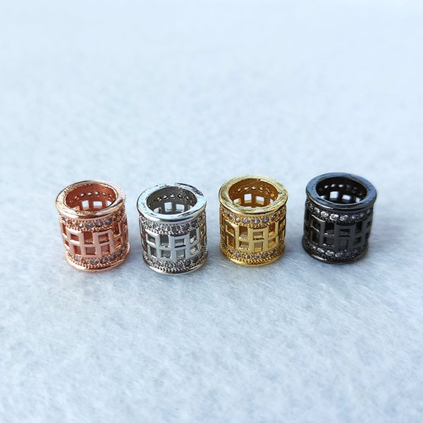 CZ zircon Big Hole Hollow circular column Tube Beads connector for DIY Bracelet Necklace Charms Jewelry Accessories CT508