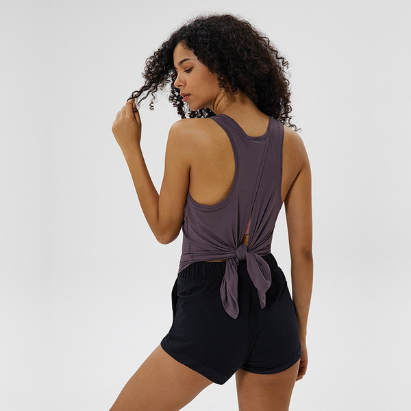 best selling Sexy Women Yoga Vest T-shirt LU-72 Hollow Back Sports Fitness Tank Top Yoga Running Gym Jogging Vest Tops