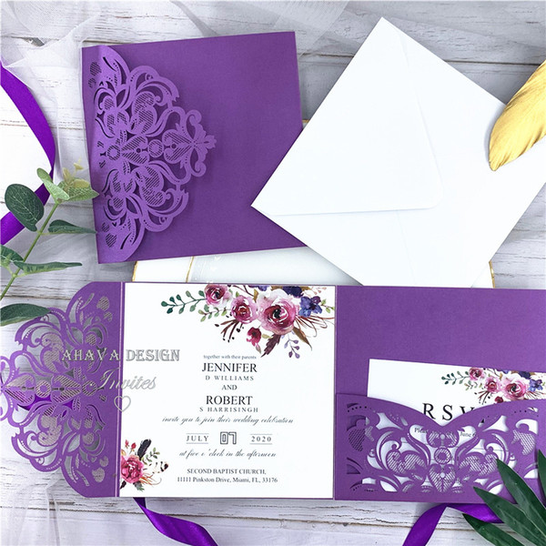 top popular Classic Fall Magenta Shades Of Purple Floral Pocket Laser Cut Wedding Invitations With Envelope, Free Shipped by UPS 2020