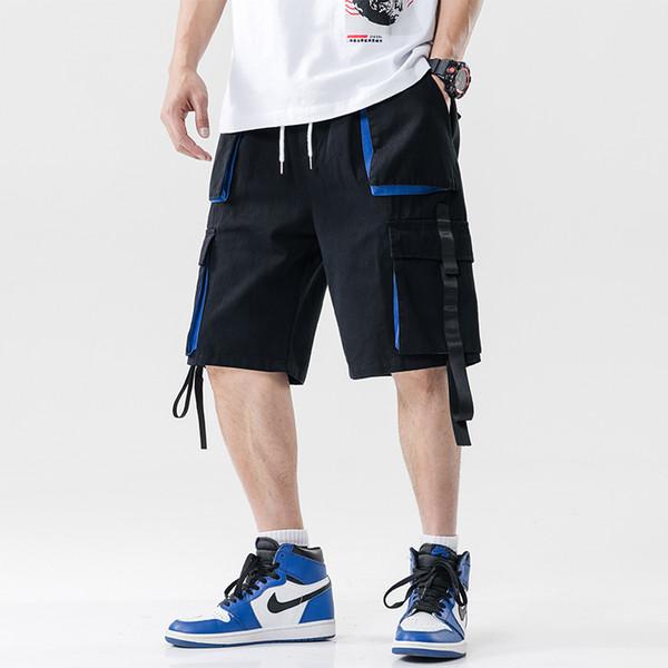 2019 Yaz Çok cep erkek Bermuda Şort Artı Boyutu Rahat Streetwear Diz Boyu Kısa Pantolon Erkekler İpli Joggers dış giyim