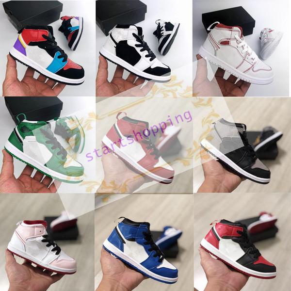 2019 1 1s zapatos de baloncesto niños en edad preescolar Firmado Jóvenes de Chicago recién nacido del bebé del niño infantil Formadores Pequeños Niños Niñas zapatilla de deporte