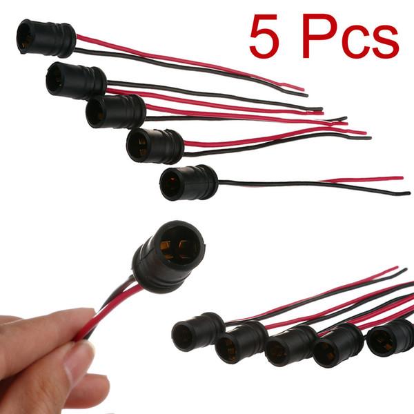 Nouvelle prise de voiture d'arrivée 5pcs T10 W5W en caoutchouc souple Ampoule Douille Support connecteur voiture Accessoires auto Câble
