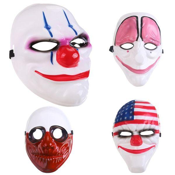 Magic Horror Game Full Face Mask Scary Clown Mask Halloween Party Mascara Carnaval Men' Clown American National Flag Head Masquerade Cosplay