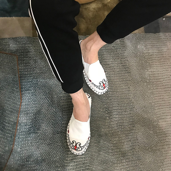 Fashion Mens Womans Canvas Embroider Shoes Flats Shoe Women Man Canvas Harajuku Espadrilles Loafers Light Hard-Wearing Rubber