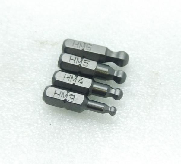 4kinds L25mm sfera magnetica cacciavite trapano avvitatore Vite Bit H3 H4 H5 H6 - S2 acciaio esagonali Punte cacciavite 1/4
