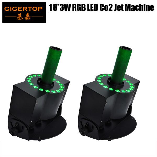 top popular TIPTOP Hi-Quality 2 x Lot 18x3W LED CO2 Jet Machine DMX Tricolor LED CO2 Jet Stage Effect Lights DMX512 CO2 Jet Machine Adjustable DJ Cannon 2021