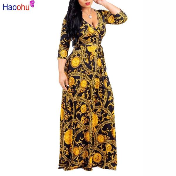 Haoohu Plus Size Chain Bohemian Long Dress Plus Size Women Autumn Winter Tunic Maxi Beach Dress Gold Female Floor-length Vestido Y190515