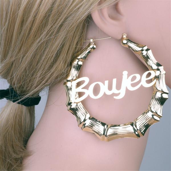 HIYONG Anpassbare Customize-Name Ohrringe Bambus Art-nach-Band-Ohrring-Buchstaben-Ohrringe für Frauen Mädchen Beste Schmuck Geschenke