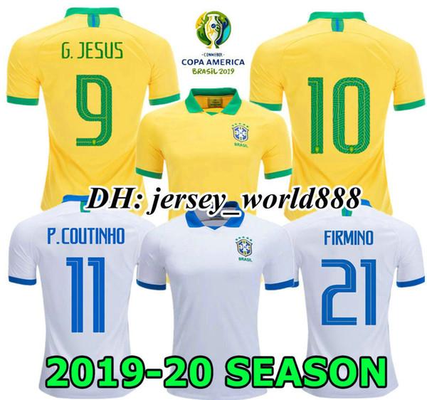 online retailer afe40 6e227 2019 G.JESUS COUTINHO Soccer Jersey 19 20 America Cup WILLIAN Home Away  FIRMINO MARCELO PAULINHO Brazil 2019 2020 Long Sleeve Football Shirt From  ...