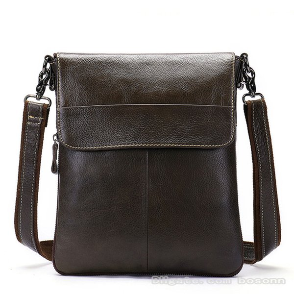 Brand Genuine Leather Messenger Bag Business Man Vintage Flapover Crossbody Bag Designer Luxury Shoulder Bags IPad Bag School Satchel