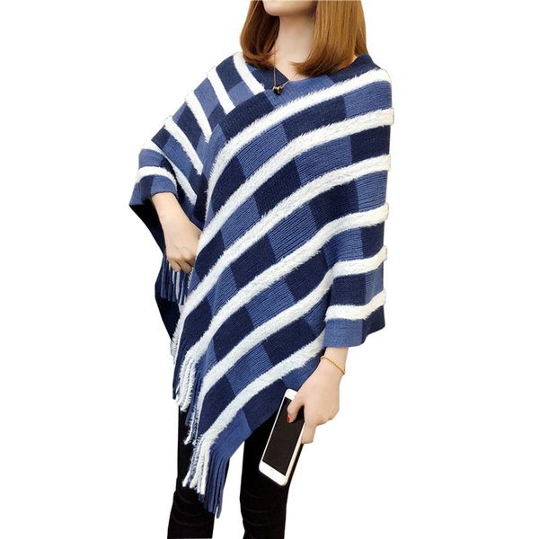 Vintage White Striped Tassel Poncho Sweater 2019 New Autumn V-Neck Plaid Sweaters Women Irregular Casual Pullover Cloak Tops