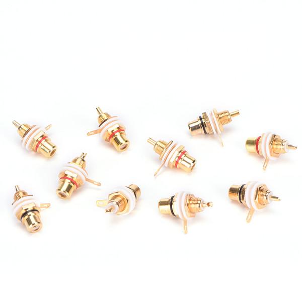 Connettore a pannello placcato oro RCA femmina con connettore jack placcato in oro placcato oro Amplificatore con presa a dado per tazza 10 pz / lotto