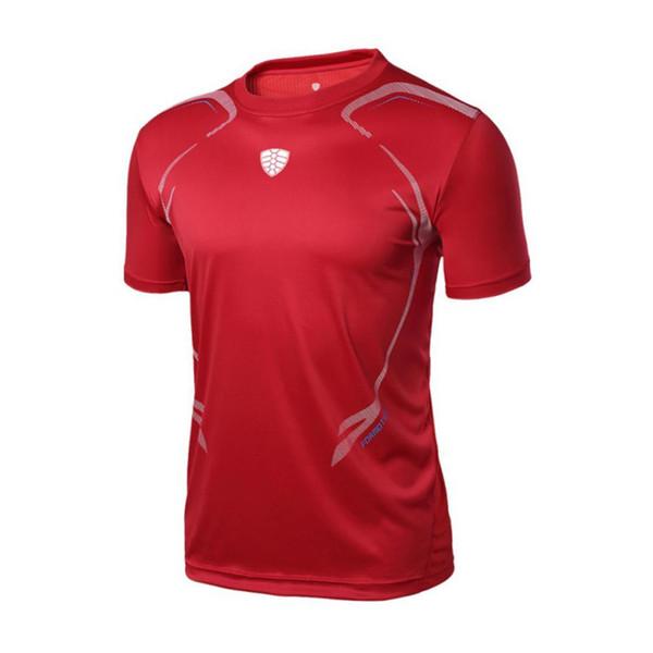 Erkekler V Yaka Kısa Kollu Katı Hızlı Moda Yaz Kuru Spor Salonu, Sporting Kırmızı, Yeşil Geometrik T-shirt Düzenli