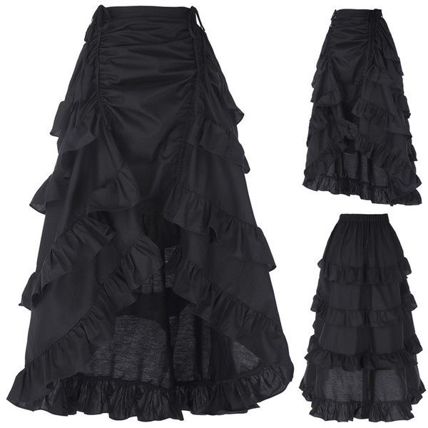 top popular 3 Colors Gothic Corset Skirt Victorian Steampunk Long Ruffle Vintage Costume Skirt J190507 2021