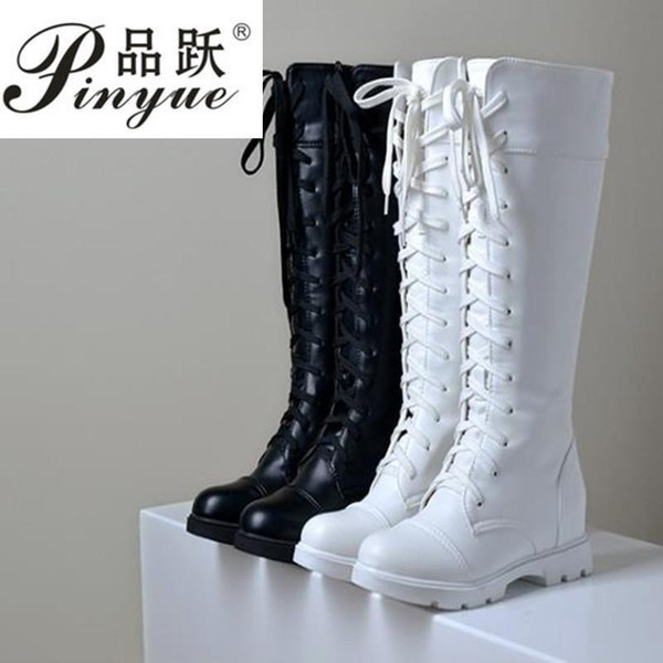 Women Platform Thick High Knee High Boots Fashion Lace Up Winter Fighting Boots White Black Size25--52