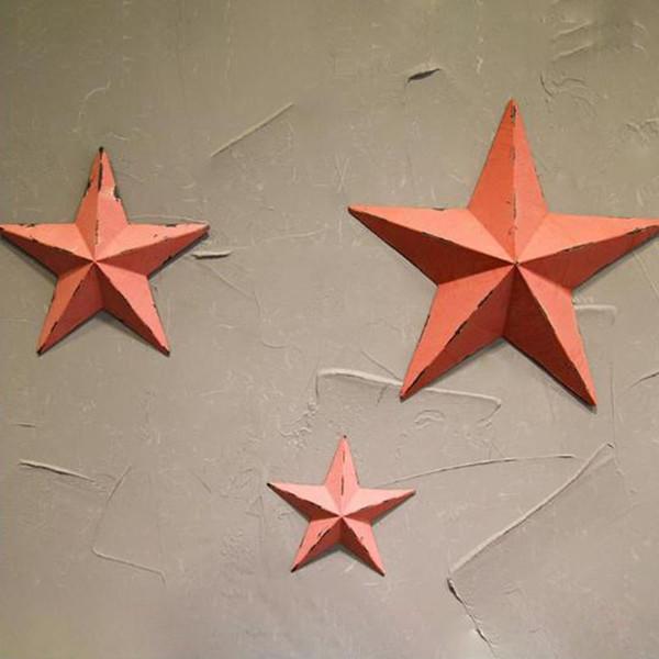 Ferro stella a cinque punte a parete Wall Hanging Wall Stickers per caffè bar della casa artigianato ornamenti d'attaccatura Decoration