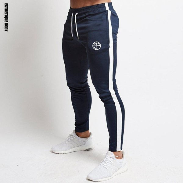 New Cotton patchwork Jogging Mens Running Sport Pants Bodybuilding Sportswear Sweatpants Men Fitness Joggers Gym Trousers