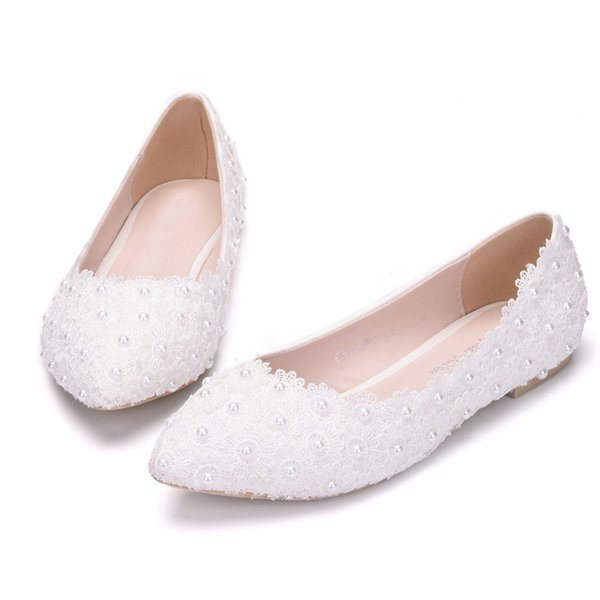 50a1e754b7db Free Shipping Best Price White Lace Flats Wedding Bridal Shoes Handmade  Shoes for Pregnant Women Bridesmaid