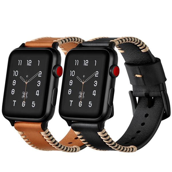 Handmade Punk Stitched Band for Apple Watch 38mm 42mm 40mm 44mm Genuine Leather Strap iWatch Series 1 2 3 4 Wristband