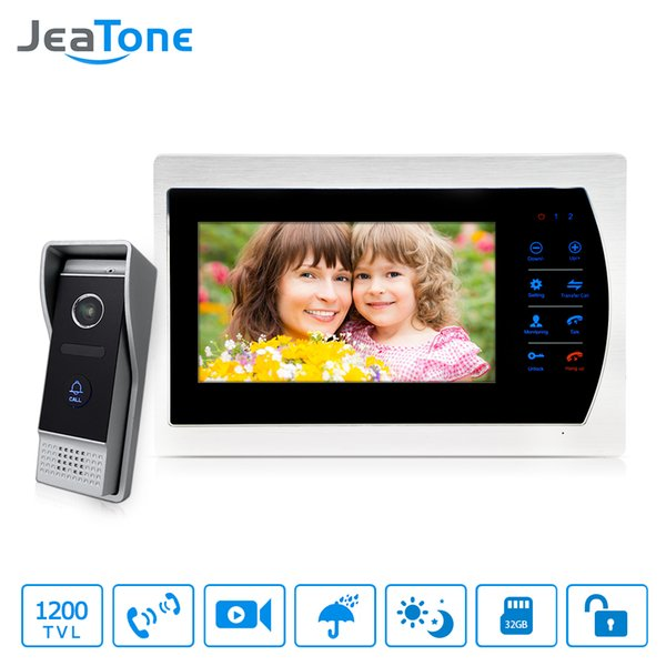 """JeaTone 7"""" Wired Video Intercom 1 doorbell with 1 Camera 1/3"""" CMOS 1200TVL High Resolution Home Security System Kit"""