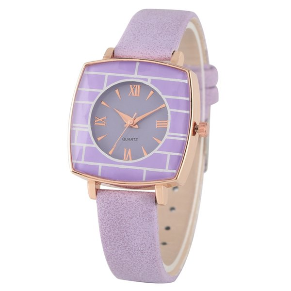 Chic Roman Numeral Dial Wristwatch Creative Square Case Quartz Analog Watch for Women High Quality Matte Leather Strap Watches